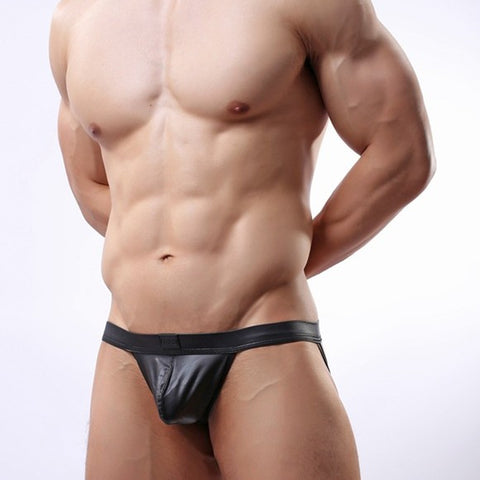 Black Leather Look Jock Strap