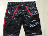 PVC Faux Leather with Double Side Zipper Wet Look Boxer Briefs