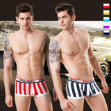 Pink Hero Boxer Briefs with U Convex Crotch in Cotton Stripes