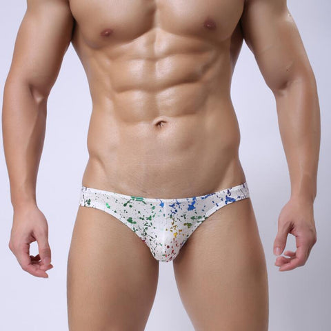 Low Rise Cotton Briefs With Splashed Colours Design
