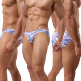 White Low Rise Briefs With Blue Prints