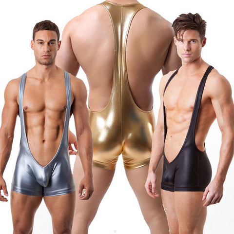 Eye Catching Faux Leather Wrestling Singlet