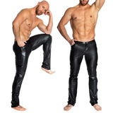 Sexy Black Wet Look PVC Faux Leather Pants