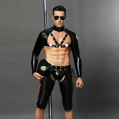 Sexy Cop Uniform in Faux Leather with Accesories