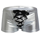 Shiny Sexy Faux Leather Boxer Briefs with Lace Up