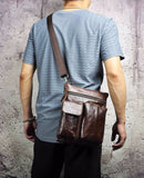Genuine Leather Male Multi-function Shoulder Bag