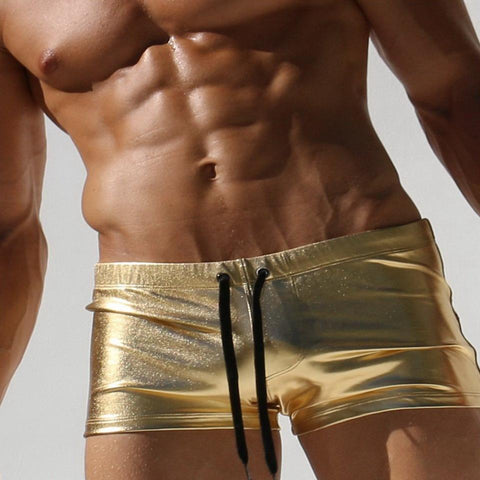 AUSTINBEM Metallic Gold Swimming Trunks