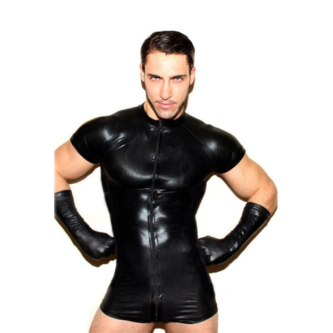 Wet Look Latex Bodysuit with Mesh Inlay