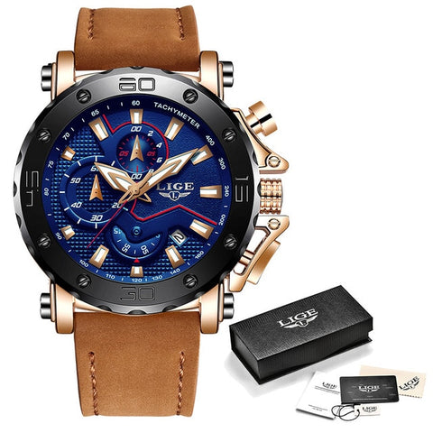 LIGE Quartz Mens Watch with Chronograph and Leather Strap