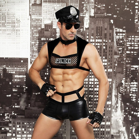 Sexy Police Costume in Black Faux Leather and Mesh with Accessories