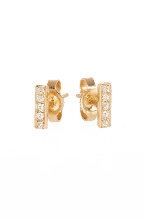 Diamond bar studs by Letters by Zoe