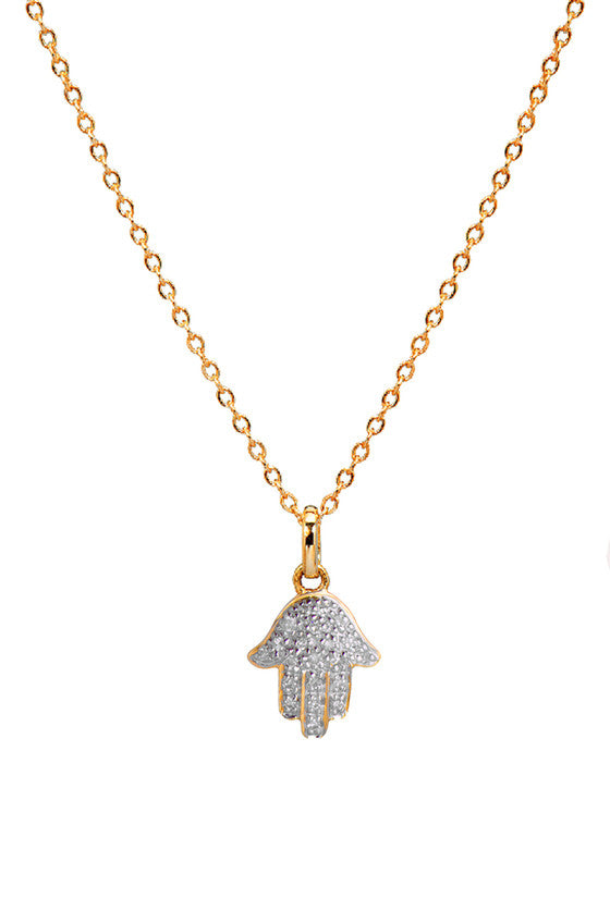 Diamond Hamsa necklace by Letters by Zoe