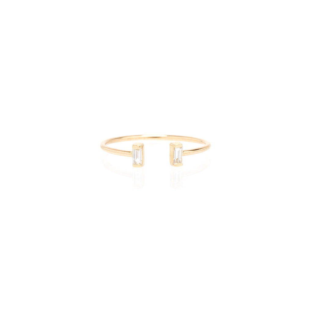Open baguette diamond ring by Zoe Chicco