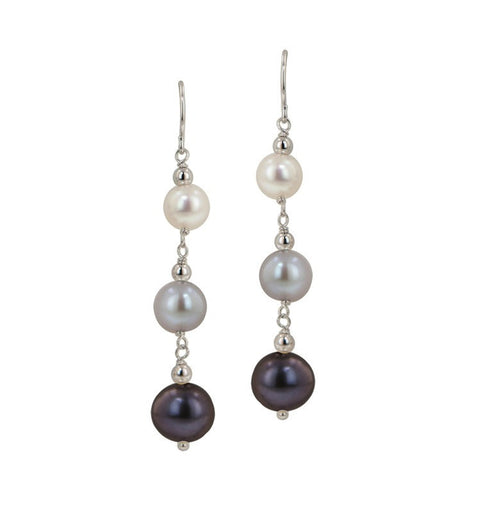 Dangling pearl earrings by Honora