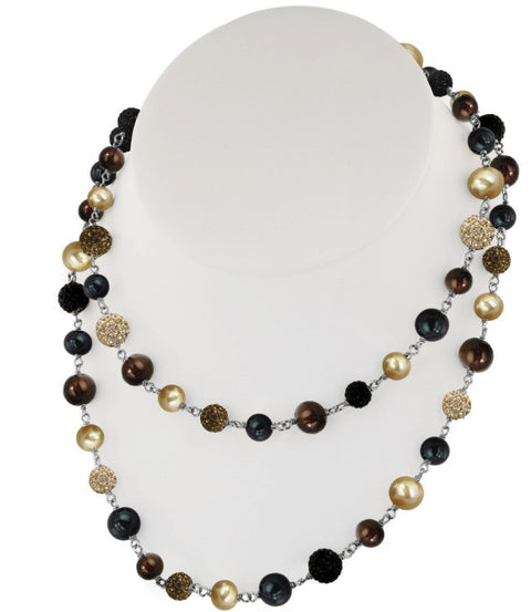 Pearl-Crystal chain necklace by Honora