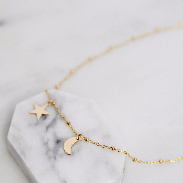 Siblings Moon & Star Necklace by Amarilo