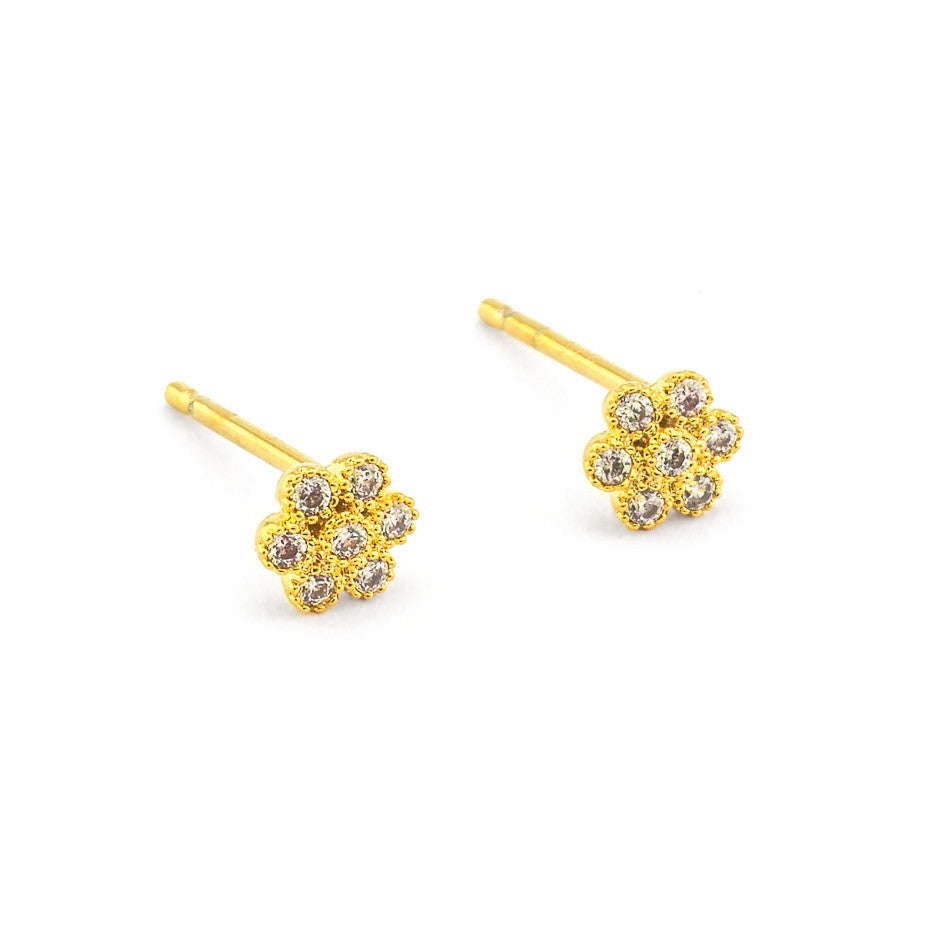 Pave flowers earrings by Tai Jewelry