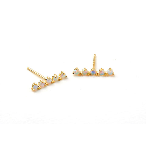 Aligned opal bar stud by Tai Jewelry