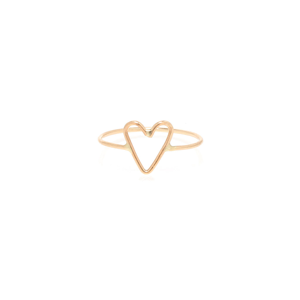 Tiny open heart ring by Zoe Chicco