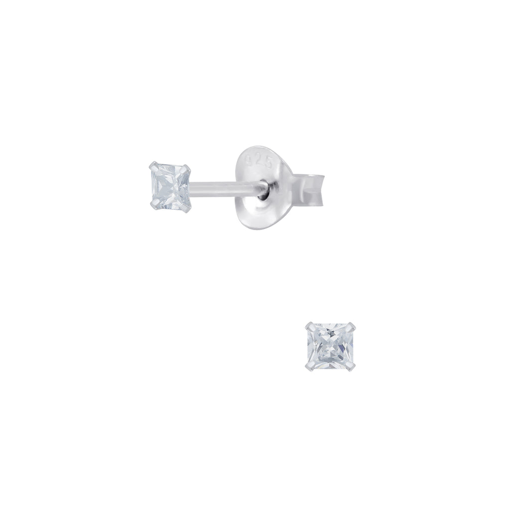 Clear Crystal Square Sterling Silver Tiny Stud Earrings 2mm