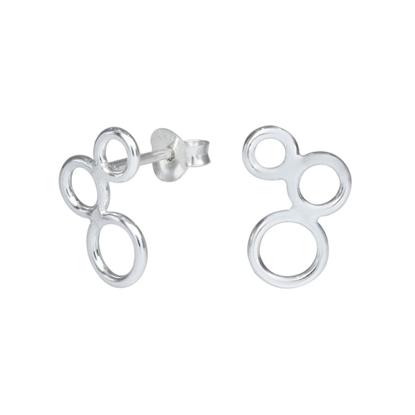 Graduated Circles Sterling Silver Stud Earrings - I love silver jewellery