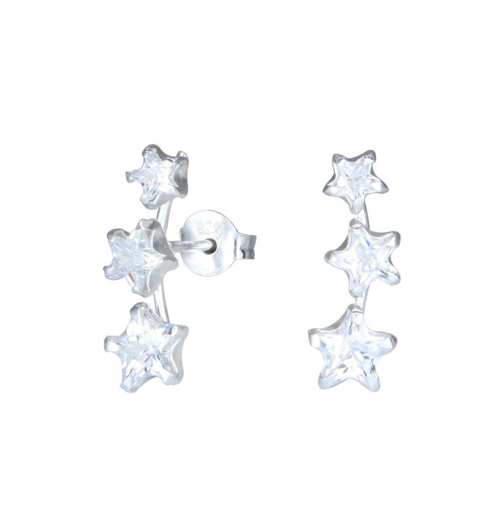 Silver Triple Star Crystal Trailing Sterling Silver Stud Earrings