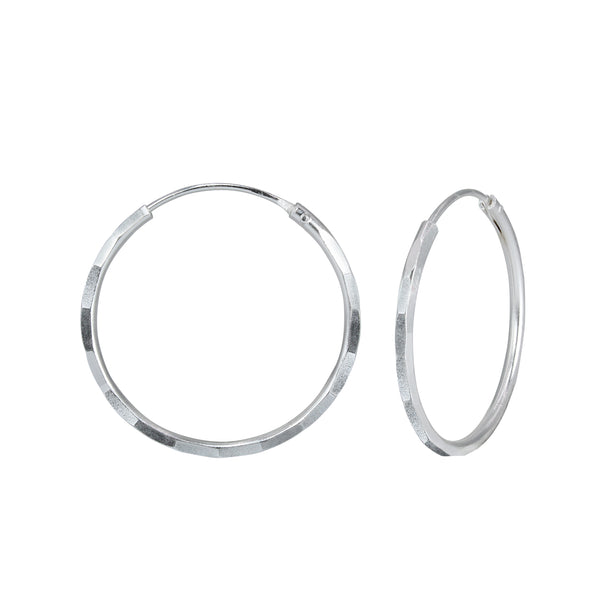 Hammered Hoop Sleeper Sterling Silver Earrings 18mm - I love silver jewellery