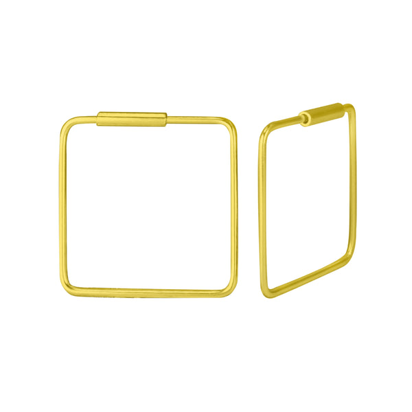 Gold Plated Square Sterling Silver Hoop Earrings 16mm