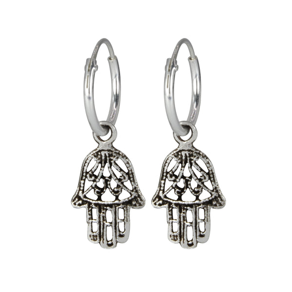 Hamsa Hand Ethnic Charm Sterling Silver Hoop Mini Earrings 12mm