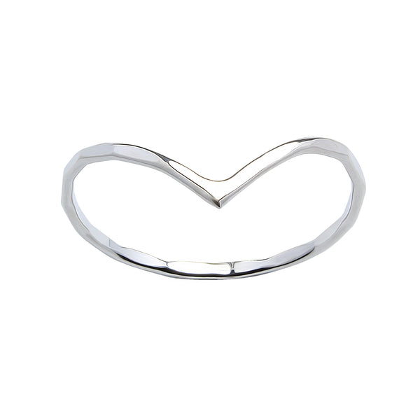 Wishbone Hammered Sterling Silver 925 Ring 1mm - I love silver jewellery