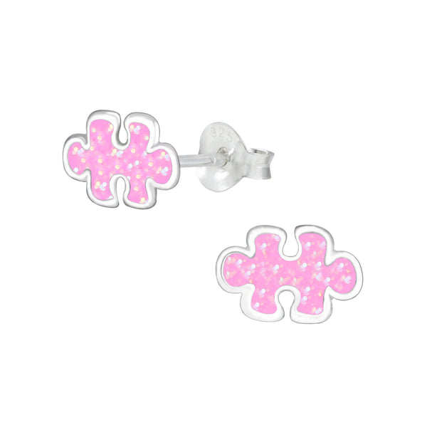 Girls Pink Jigsaw Puzzle Glittery Sterling Silver Stud Earrings - I love silver jewellery