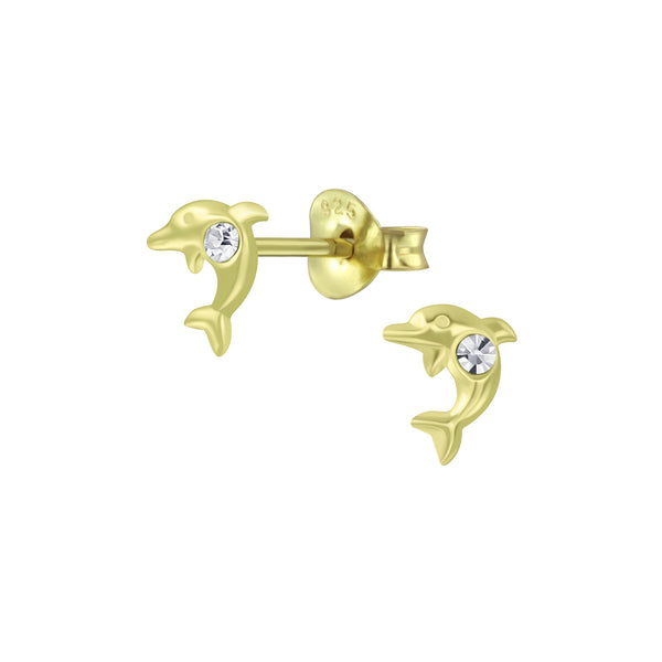 Gold Crystal Dolphin Sterling Silver Tiny Stud Earrings 6mm