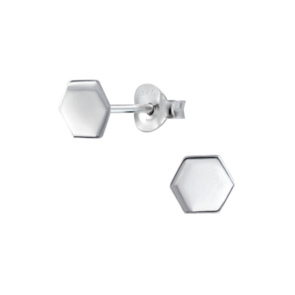 Hexagon Geometric Sterling Silver Small Stud Earrings - I love silver jewellery