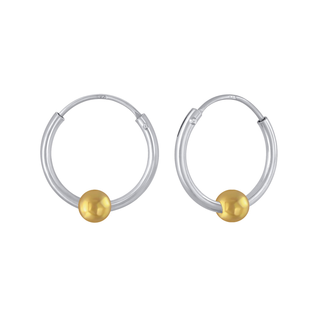 Yellow Gold Plated Ball Two Tone Sterling Silver Small Hoop Earrings 12mm