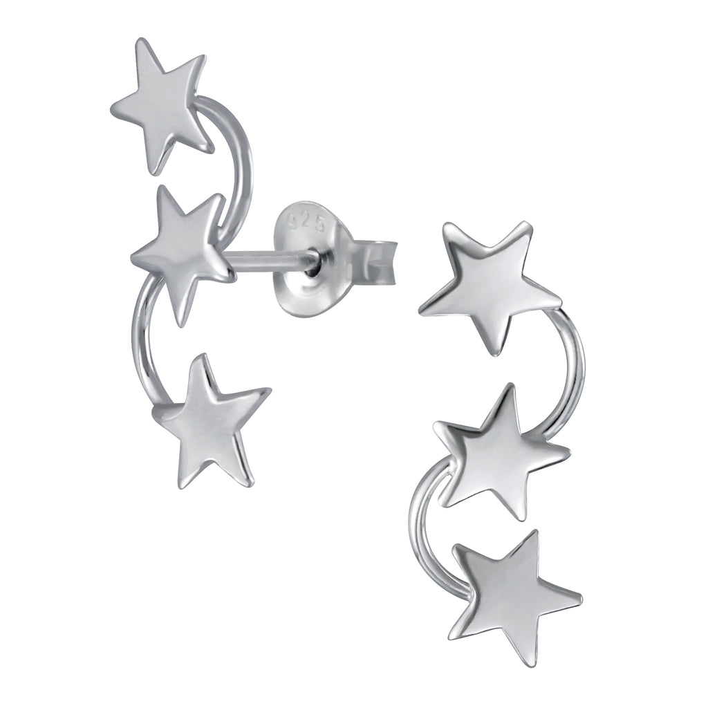 Triple Stars Sterling Silver Stud Earrings 20mm - I love silver jewellery