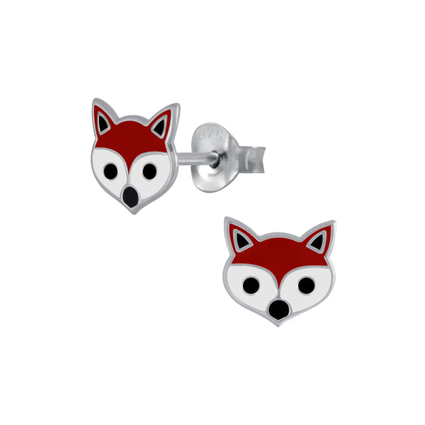 Girls Red & White Fox Sterling Silver Stud Earrings 8mm - I love silver jewellery