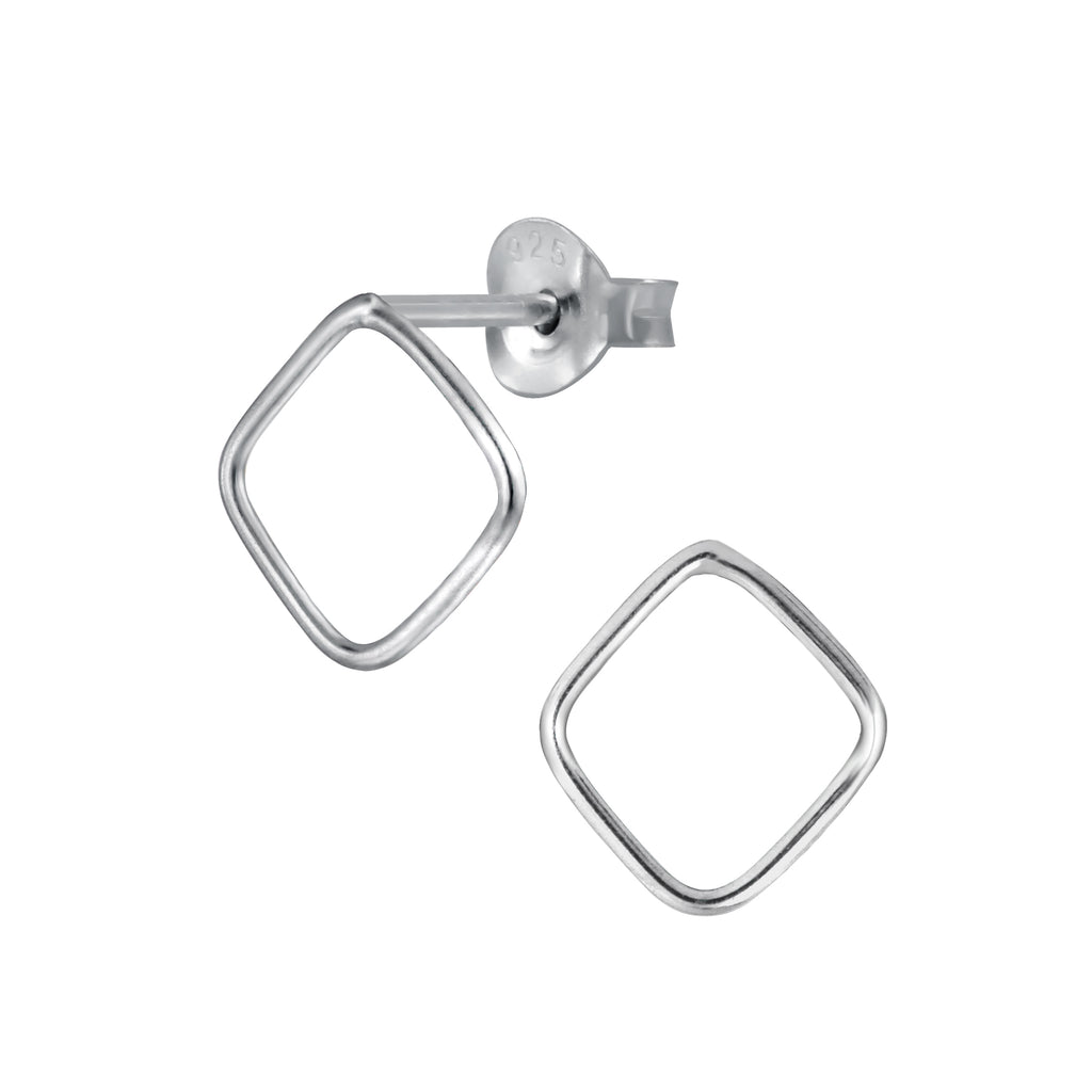 Square Outline Sterling Silver Stud Earrings - I love silver jewellery
