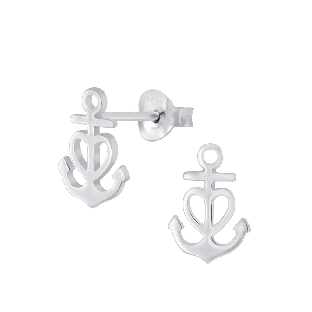 Silver Anchor Heart Sterling Silver Small Stud Earrings 11mm - I love silver jewellery