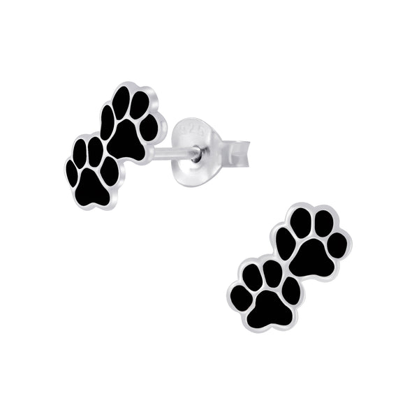 Black Double Paw Print Sterling Silver Stud Earrings 9mm - I love silver jewellery