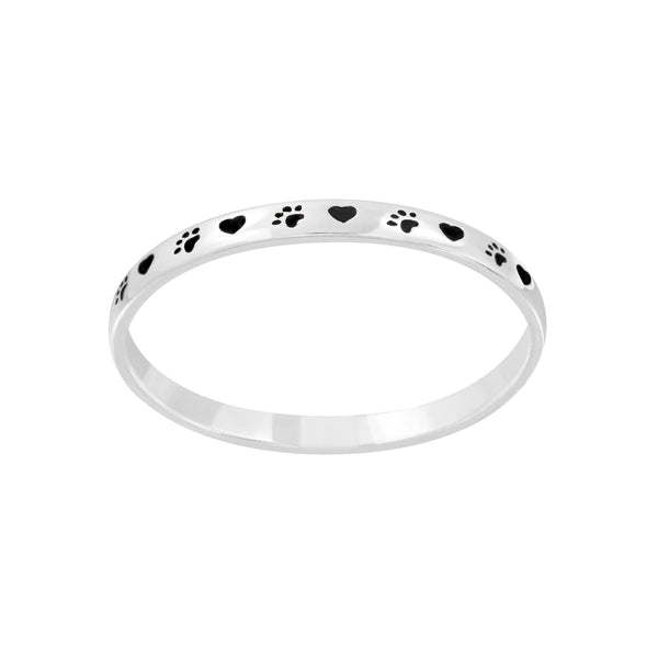 Black Paw Print Heart Sterling Silver Band Ring 2mm - I love silver jewellery