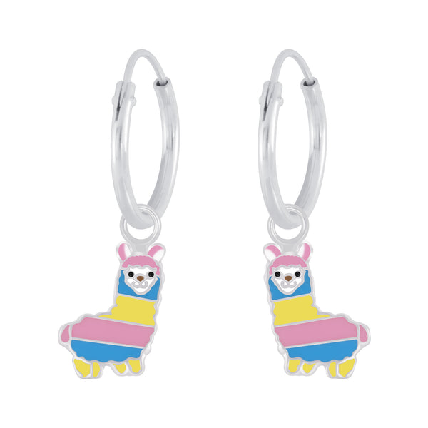 Girls Rainbow Llama Sterling Silver Mini Hoop Earrings 12mm - I love silver jewellery