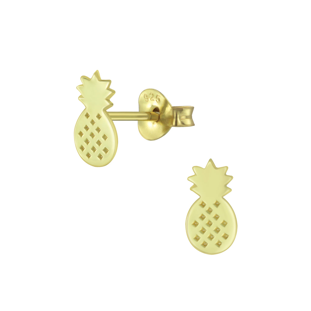 Pineapple Cut Out Gold Plated Sterling Silver Stud Earrings - I love silver jewellery