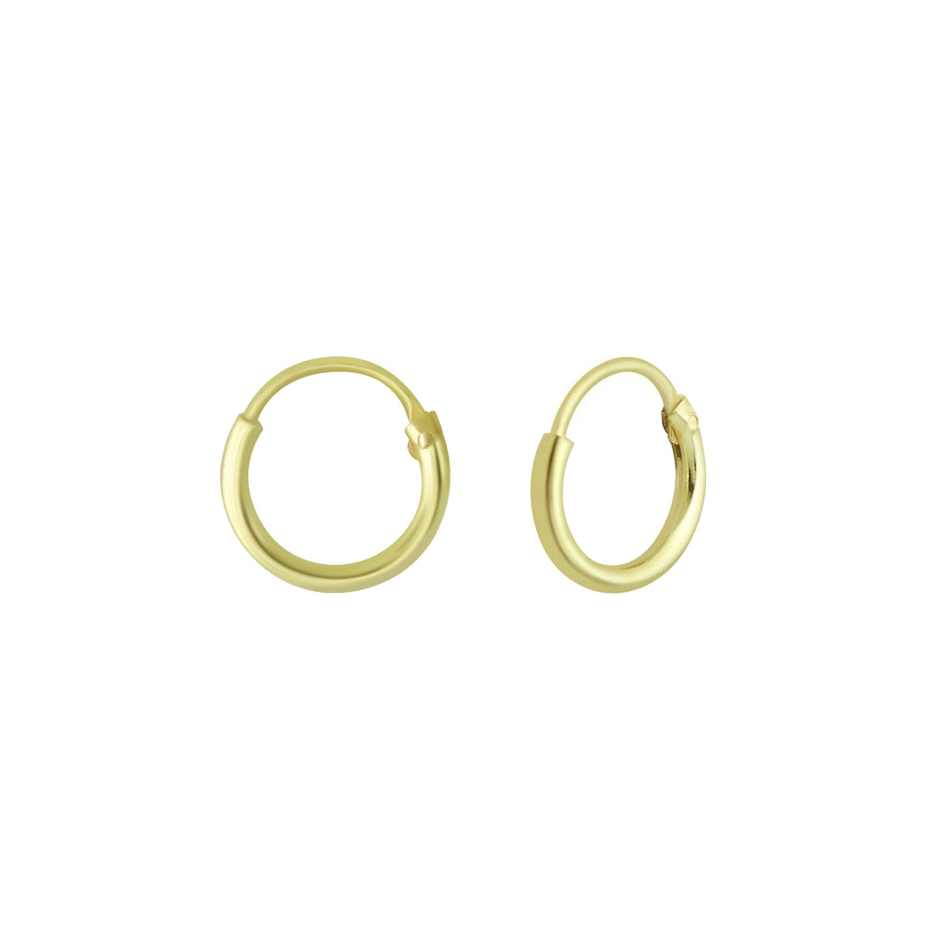 Yellow Gold Extra Tiny Sterling Silver Hoop Sleeper Earrings 8mm