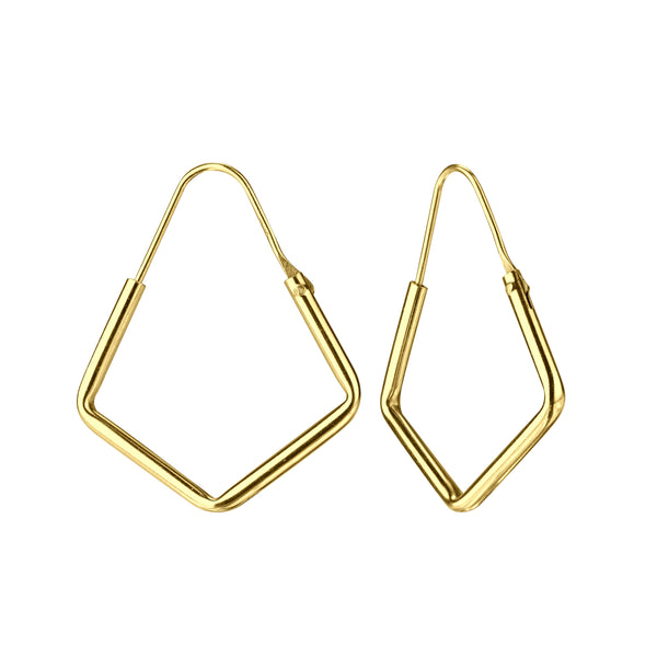 Yellow Gold Plated Hexagon Geo Sterling Silver Hoop Earrings 21mm