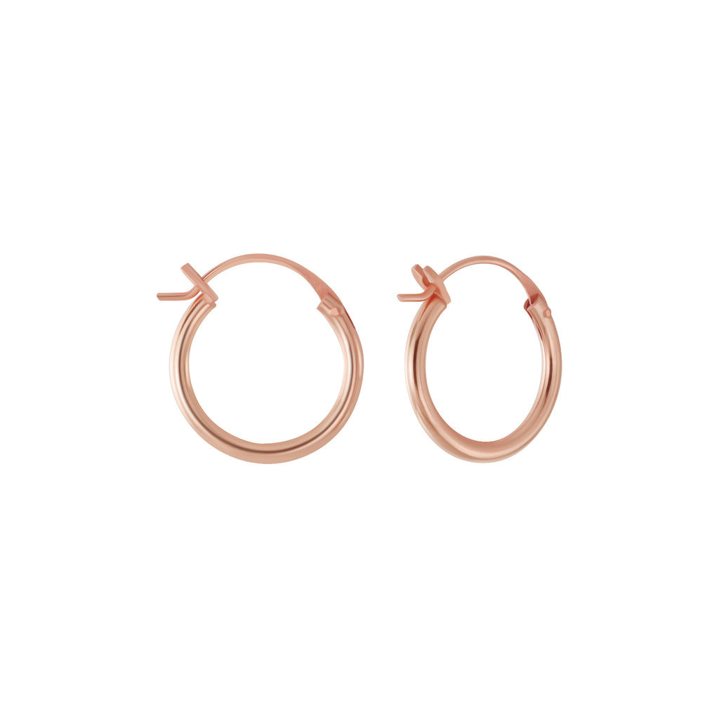 Rose Gold Plated French Lock Hoop Sterling Silver Earrings 14mm - I love silver jewellery