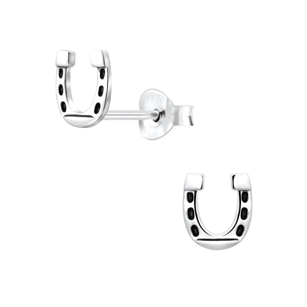 Black Horse Shoe Silver Sterling Silver Small Stud Earrings