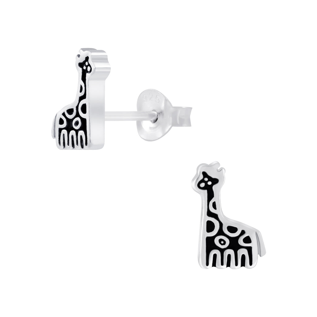 Black Giraffe Sterling Silver Small Stud Earrings 8mm - I love silver jewellery