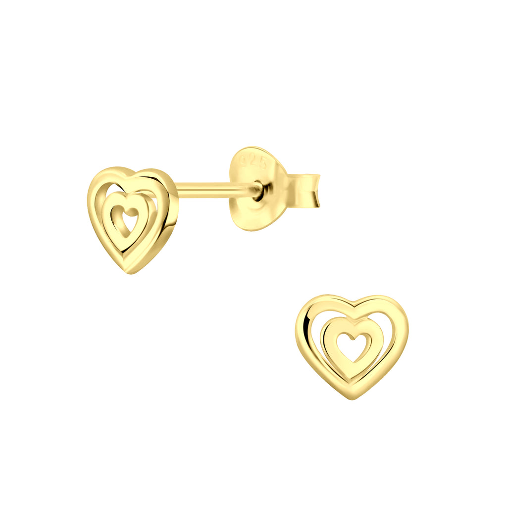 Gold Plated Outline Double Heart Sterling Silver Tiny Stud Earrings 6mm
