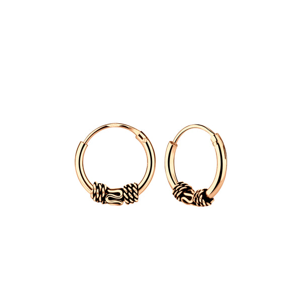 Rose Gold Plated Bali Sterling Silver Mini Hoop Earrings 10mm