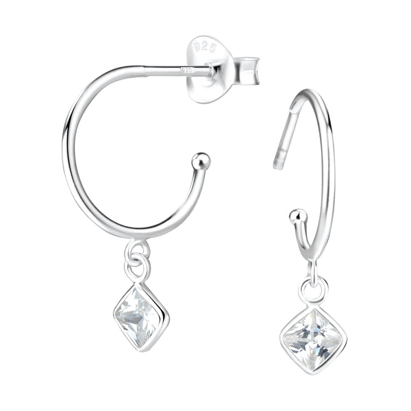 Crystal Diamond Charm Sterling Silver Hoop Earrings 14mm